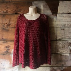 Lucky Brand Size Large Metallic Loose Knit Sweater